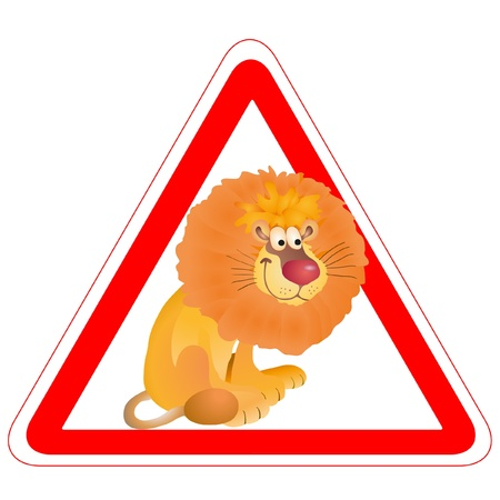 Warning sign with a funny Lion Stock Vector - 14006969