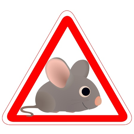 Warning sign with a funny Mouse Vector