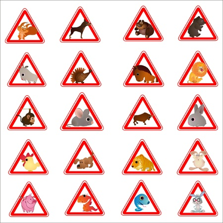 Set of 20 funny animals designed as warning road signes Stock Vector - 14077784