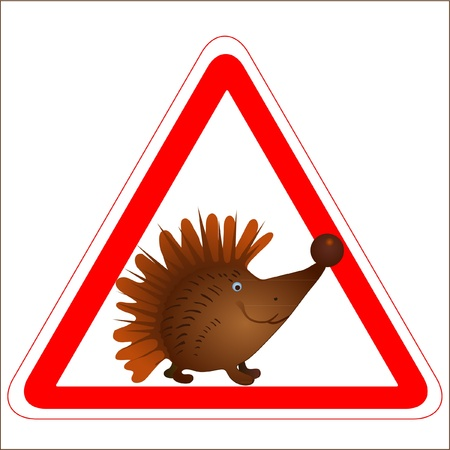 Warning sign with a funny Hedgehog