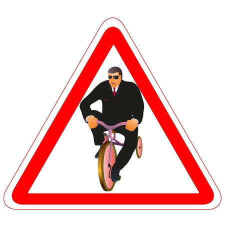 Warning road sign with businessman and little bike Vector