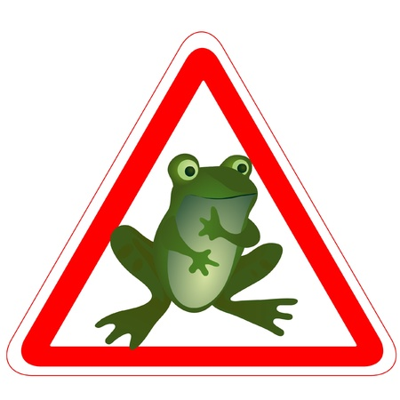 Warning road sign with a funny frog Vector