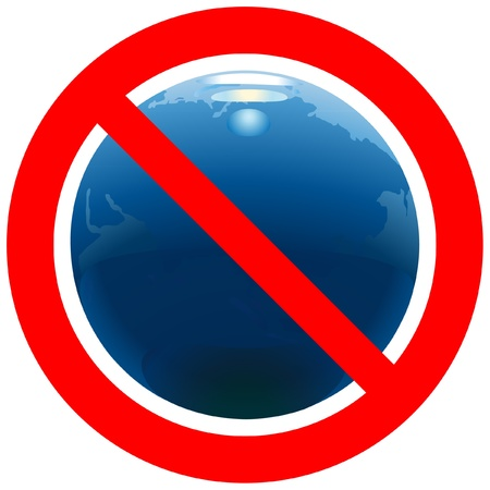 Prohibitory road sign with Earth Illustration