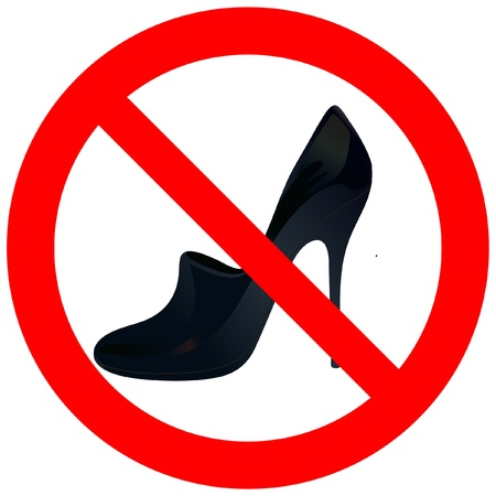 Prohibitory road with woman s shoe