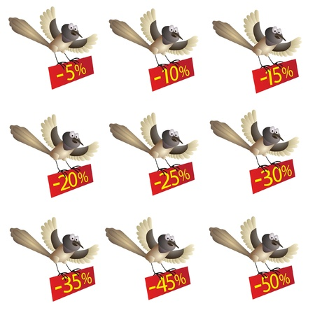 Set of funny flying birds with information about discount Illustration