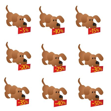 Set of little funny Dogs with discount boards