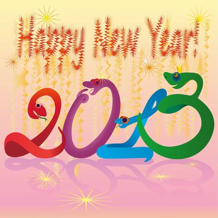Crazy snakes and 2013 New Year colors Vector
