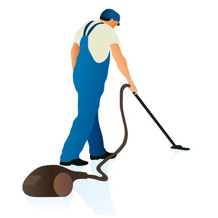 trastorno: Profesional de la limpieza con aspiradora Vectores
