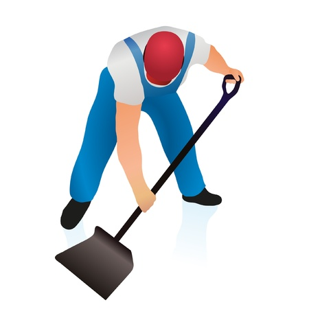 cleaning planet: Professional cleaner with shovel Illustration