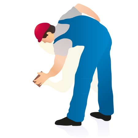 Professional cleaner wiping the wall Vector