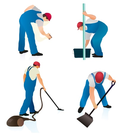 Set of four professional cleaners Vector