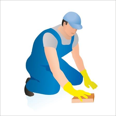 охватывающей: Профессиональный уборщик моет полы с губкой Иллюстрация