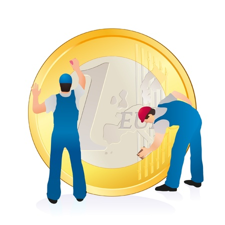 Two professionals cleaning the big Euro coin