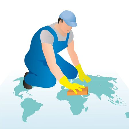 Professional cleaner wiping the world s map with a sponge