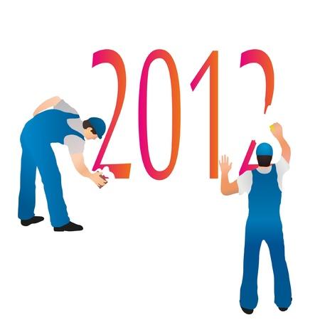Two professionals erasing the 2012  symbols