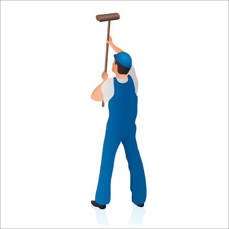 Professional cleaner wiping the wall with a swab Vector