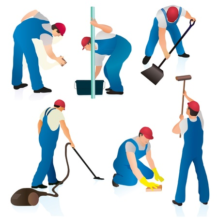 Set of six professional cleaners Vector