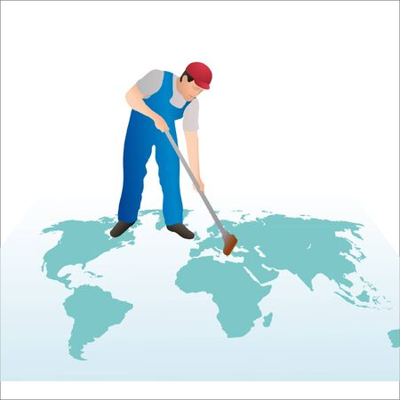cleaning planet: Professional cleaner wiping the world s map with a swab