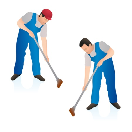 janitor: Two professional cleaners wiping the floor wall with a swab Illustration