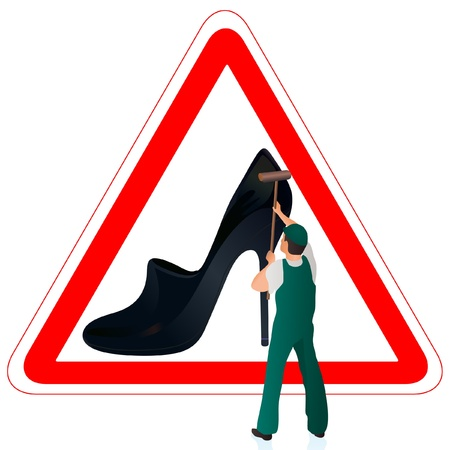 Man in green uniform cleaning the road sign with woman s shoe Illustration