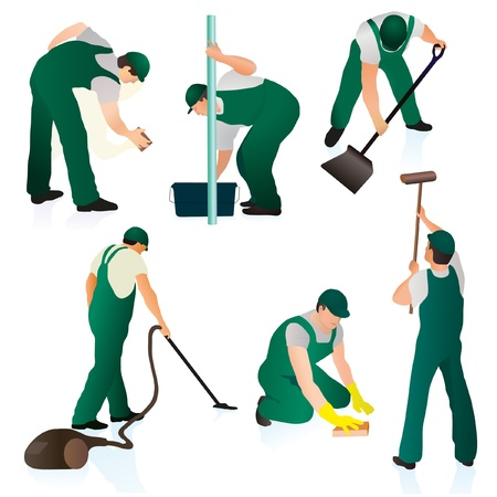 Set of six professional cleaners in green uniform Vector