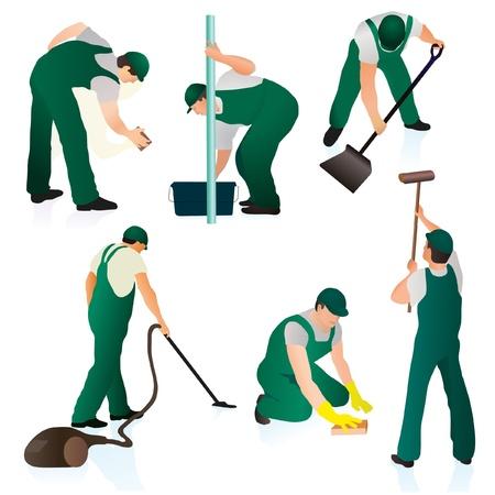 Set van zes professionele schoonmakers in groen uniform Vector Illustratie
