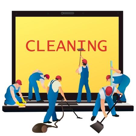 pulizia pavimenti: Sei detergenti con notebook grande Vettoriali