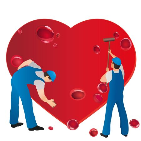 Two professional cleaners wiping the bleeding heart Vector