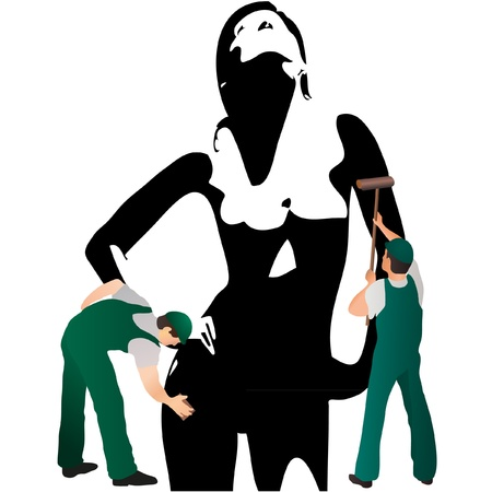 Two professional cleaners wiping woman s silhouette Stock Vector - 14781996