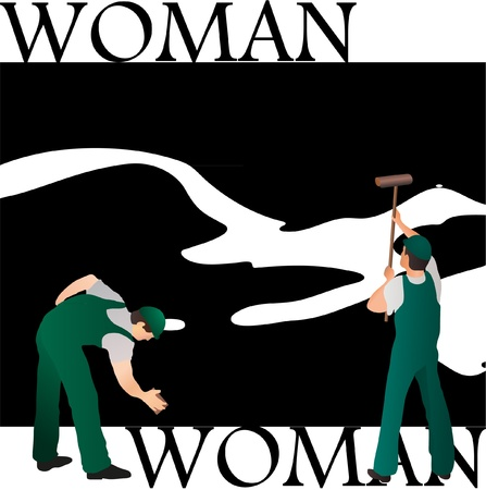 Two professional cleaners wiping woman s silhouette black and white