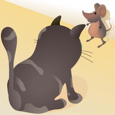 Little mouse against big cat