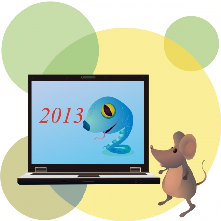 Funny snake on the screen of notebook and little mouse Illustration