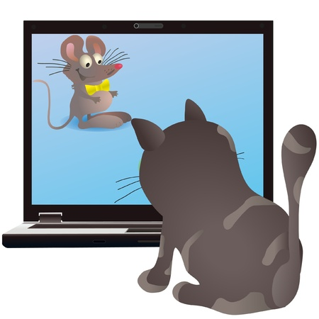 Cat and little mouse on the screen of the notebook