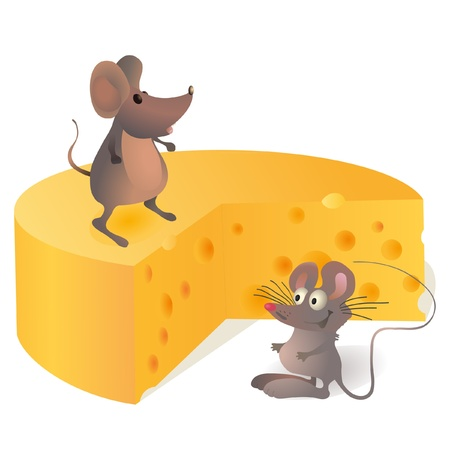 Two mouses near the big cheese Vector