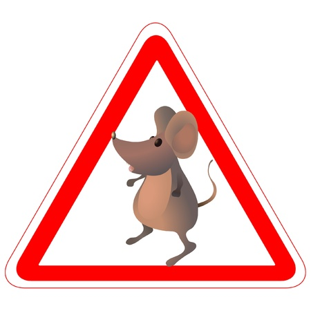 Warning road sign with a finny mouse Illustration