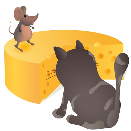 Big cat sitting in front of the mouse and cheese Illustration