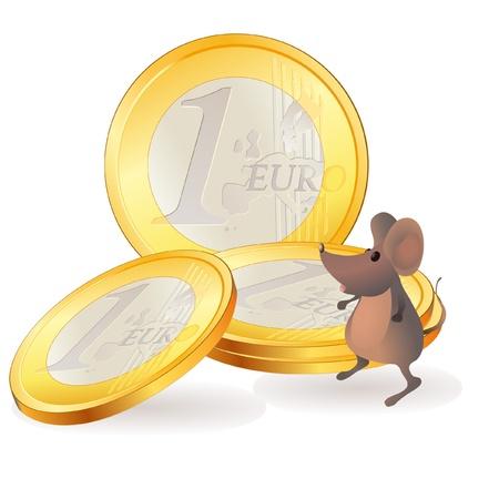 Little mouse near Euro coins Vector