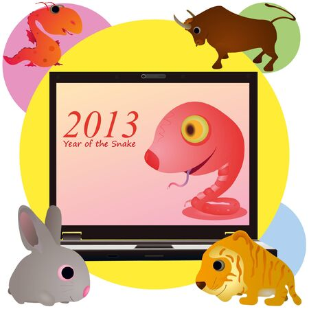 Funny pink snake on the screen of notebook and animals
