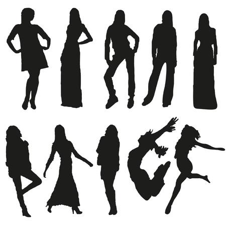 Set of ten women s silhouettes Illustration