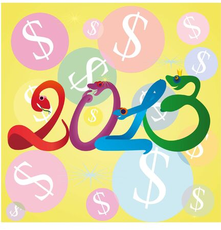 2013 New Year symbols with snakes and dollars