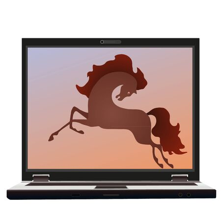 Horse on the screen of the notebook