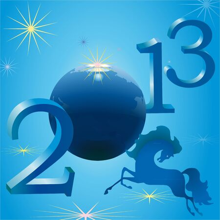 Stylish horse and 2013 New Year symbols Illustration
