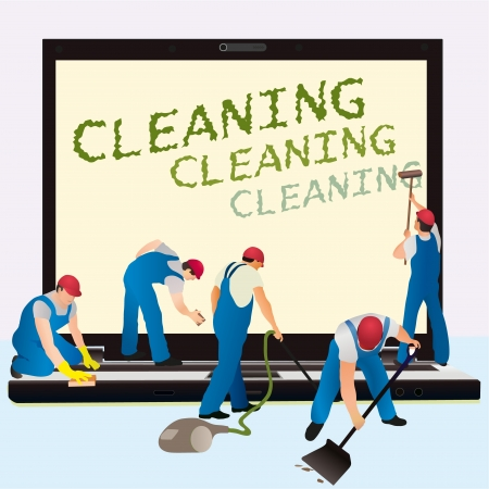 cleaning windows: Five cleaners with big notebook dark screen