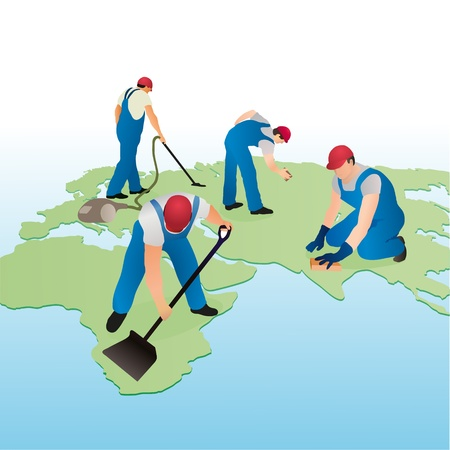 cleaning planet: Four cleaners working on the world s map