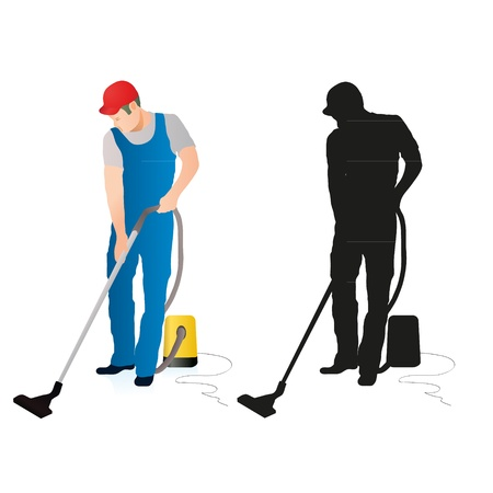 Two silhouettes of professional cleaners with vacuum cleaner Illustration