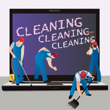 Four cleaners with big notebook