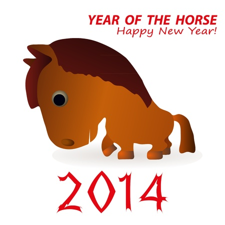 Funny horse as a symbol of 2014 New Year Illustration