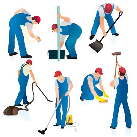 dweilen: Set van zeven schoonmakers in blauw uniform