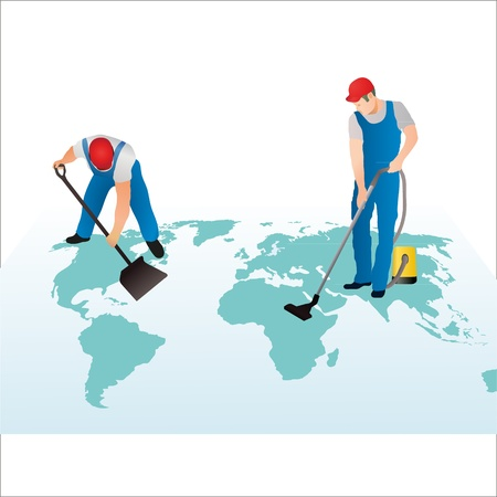 cleaning planet: Two professional cleaners on the world s map Illustration