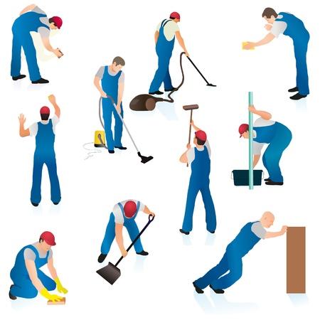 cleaners: Set van tien professionele schoonmakers Stock Illustratie